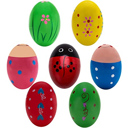 SCSpecial Egg Shakers 4 Pieces 2.4 Inches x 1.6 Inches Natural Wood Musical Eggs Musical Percussion Instruments