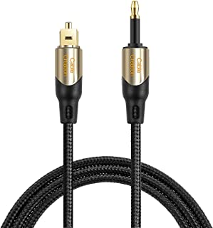 CableCreation 15 Feet Toslink Male to Mini Toslink Male Digital Optical S/PDIF Audio Cable with Metal Connectors, Black & ...