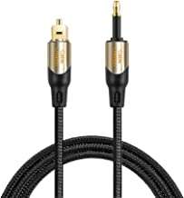 CableCreation 50 Feet Long Toslink Male to Mini Toslink Male Digital SPDIF Audio Optical Fiber Cable 24K Gold Plated Compatible Chromecast Audio,iMac,Mac Pro&More,Black & Gold/15M