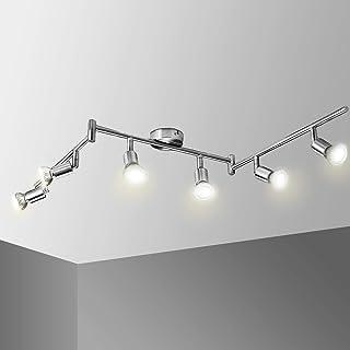 Ketom Plafonnier 6 Spots LED GU10 Orientables - Applique Plafond/Murale Pivotant 6x6W Ampoule LED 550Lm IP20 4500K Blanc N...