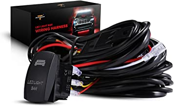 Auxbeam LED Light Bar Rocker Switch with 3Pcs Switching Lines Wiring Loom Harness Kit with Fuse and Relay