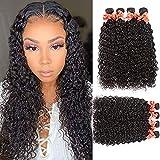 Water Wave Bundles Virgin Hair Bundles Wet and Wavy Weave Bundles Remy Brazilian Human Hair Curly Wave 4 Bundles Hair Extensions Natural Black Color (18 20 22 24)