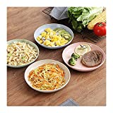 JTQMDD Conjuntos de tazón de Cereal de Paja de Trigo, Placa de Postre/tazón de Servicio, Conjunto de tazones biodegradables de Fibra de residuos Cero amigable con Eco, fácil de Limpiar
