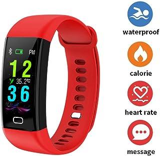 FJLOVE Reloj Inteligente Mujer,Smartwatch Hombre Impermeable IP68 Pulsera Actividad con Medición De Temperatura, Monitor De Ritmo Cardíaco, Podómetro, Control De Música Reloj Actividad