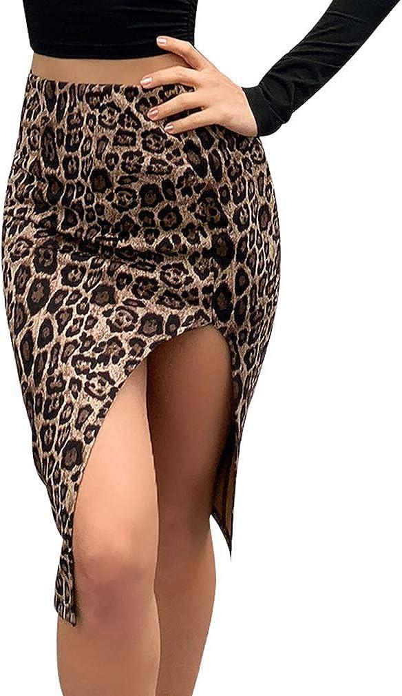 Hrsptudorc Spring Winter Women Faux Suede Print High Waist Side Slit Party Skirt Casual Split Midi Skirts S Leopard