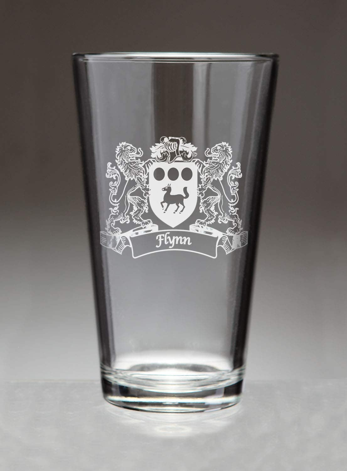 Bombing free shipping Flynn Irish Coat of Arms Etched Pint Glasses Sand Max 63% OFF