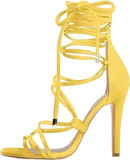 Women's Lace Up Gladiator Crisscross Stiletto Heel Strappy Sandals