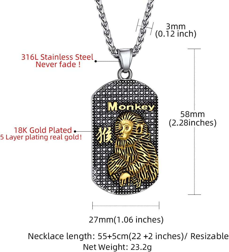 GoldChic Chinese Zodiac Coin Necklace, 18K Gold Plated Round Disc Handmade Animal Pendant Amulet Lucky Charm Necklace for Women/Girl, Birthday Gift (with Gift Box)