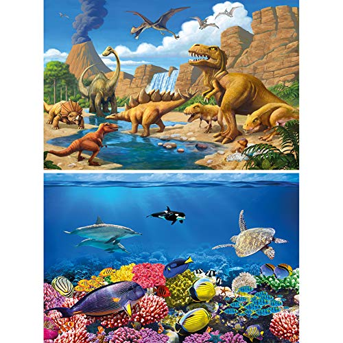 GREAT ART Juego de 2 carteles XXL Mundo Submarino y Dinosaurios Decoración de Pared diferentes mundos animales - Foto-Poster de Pared - Foto Mural (140 x 100 cm)