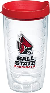 Tervis 1084588 Ball State Cardinals Logo Tumbler with Emblem and Red Lid 16oz, Clear