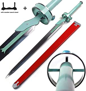"Mingshao 41"" SAO Sword Art Online Lambent Light Asuna Yuuki Rapier Carbon Steel Replica with Wooden Stand"