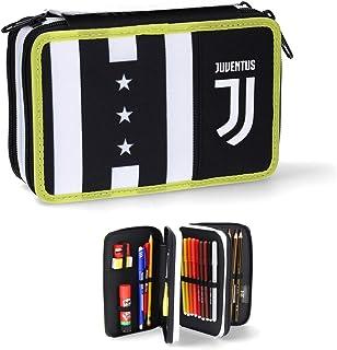 Juventus Seven piórnik z 3 zamkami błyskawicznymi, w komplecie z artykułami do pisania, kolekcja Szkoła 2020/2021, 100% or...