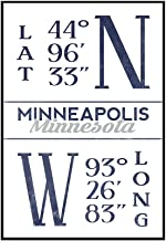Minneapolis, Minnesota - Latitude and Longitude (Blue) (24x36 Framed Gallery Wrapped Stretched Canvas)