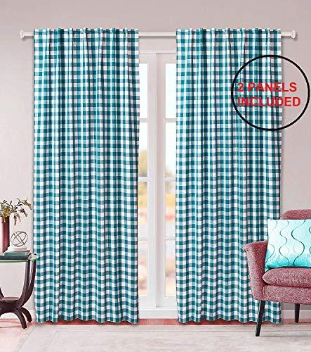 Clinica di Cotone Tende 2 Pannelli per Camera da Letto e Soggiorno - 100% Cotone Tenda - Scandinavi Vintage Tende Finestre 127 x 274 cm Verde Bianco