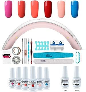 Gel Nail Polish Starter Kit - 6 Colors Gel Polish Set Base Top Coat, 36W LED Nail Dryer Lamp with Full DIY Gel Manicure Nail Tools by Vishine 8ml #11
