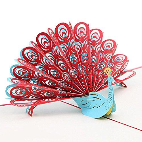 SODIAL Paon 3D Pop up Carte d'anniversaire pour femme Mari Enfants Saint Valentin L'obtention du diplome Fete des meres Carte cadeau Carte de voeux (Rouge)