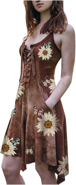 Women Irregular Hem Sunflower Butterfly Print Lace Slim Pocket Sling Dress for Dating,Holiday,Beach,Party