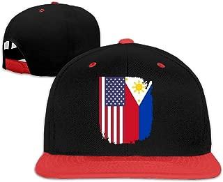 Unisex American Philippines Flag Baseball Hat Vintage Cotton Snapback Cap