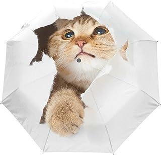 Naanle Cute Cat Auto Open Close Foldable Windproof Travel Umbrella for Women