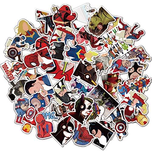YZFCL Marvel Supereroe Valigia Divertente Cartone Animato Fai da Te Impermeabile Adesivo Graffiti 50 Pezzi