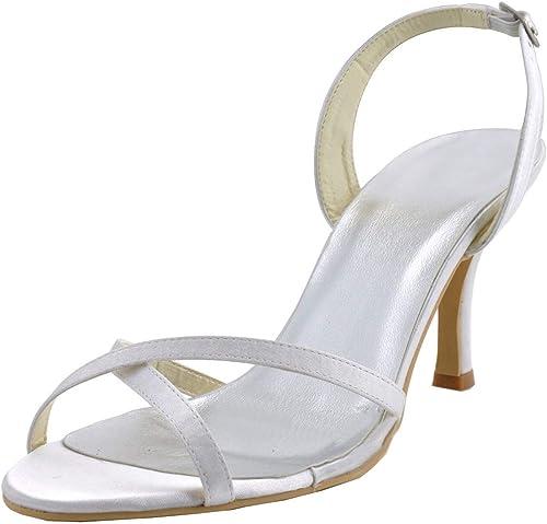 ZHRUI GYMZ628 Chaussures à Bout Ouvert en Satin de mariée pour Femmes (Couleuré   Ivory-7cm Heel, Taille   4.5 UK)