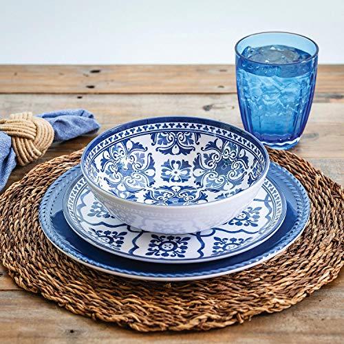 "18 Piece Melamine Dinnerware Set Blue""French Country"""