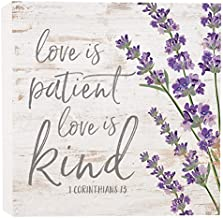 P. Graham Dunn Love is Patient Kind Floral Whitewash 5.5 x 5.5 Solid Wood Barnhouse Block Sign