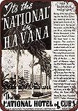 Placa de metal con diseño de Hotel Nacional de Cuba en La Habana, para bar, café, restaurante, dormitorio, garaje y club