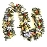 Warmiehomy Pre-Lit Christmas Garland with Lights 2.7M Fireplace Stair Decoration Illuminated Wreath with 50 LED Lights Pine Cones Flowers Decor for Xmas Festival Tree Display