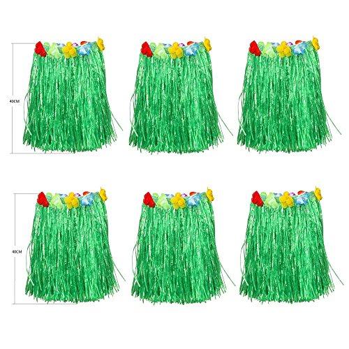 NEWCREATIVETOP Kid's Flowered Green Luau Hula Skirts Pack of 6