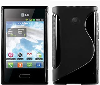 ebestStar - Funda Compatible con LG Optimus L3 E400 Carcasa Gel Silicona Gel TPU Motivo S-línea, S-Line Case Cover, Negro [Aparato: 102.6 x 61.6 x 11.9mm, 4.3'']