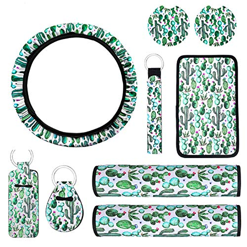 9 Pieces Cactus Car Accessories, include Cactus Car Steering Wheel Cover, Car Shoulder Pads, Center Console Armrest Pad Cover, Car Coasters, Key Chain and Lip Balm Holder for Car Decorative Supplies