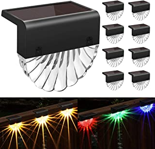 Solar Deck Lights Outdoor - 8 Pack Solar Step Light CIYOYO Waterproof Solar Fence Lights for Patio Stairs Post Pathway Por...