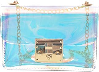 Gimax Top-Handle Bags - New Transparent Bag Handbags Clear PVC Jelly Small Tote Messenger Bags Laser Holographic Shoulder Bags Female Lady Chain Bag