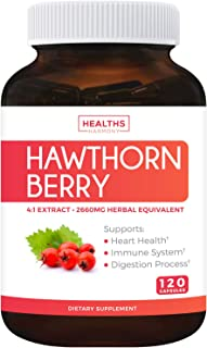 Hawthorn Berry 4:1 Extract (120 Capsules) Supports Healthy Blood Pressure, Circulation, Heart Health & Immune System - Pow...