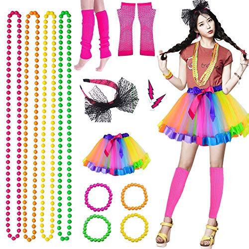 Xiangmall 80S Déguisement Neon Fête Accessoires Bijoux Fluo Tutu Robe Danse Jambières Gants pour Femmes Filles Soirée