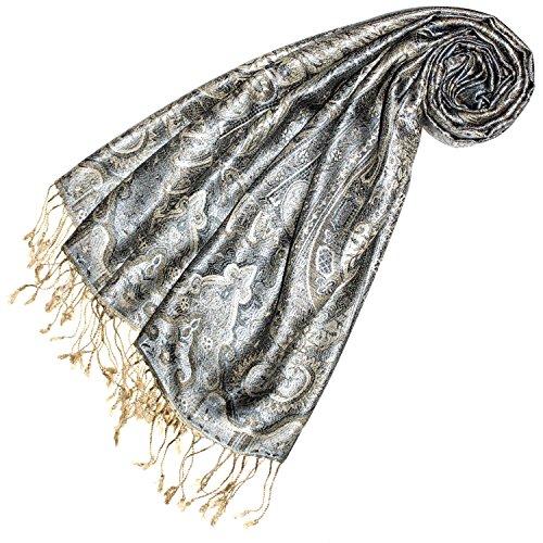 Lorenzo Cana Lorenzo Cana Luxus Pashmina Damen Schal Schaltuch jacquard gewebt 100% Seide 70 cm x 190 cm Paisley Muster Seidenschal Seidentuch Seidenpashmina Fransenschal