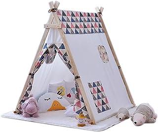 Vobajf Barn lektält tunnlar slott tipi-tält för barn barn inomhus/utomhus hopfällbara tipi-tält lektält (färg: Vit, storle...