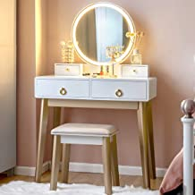 CHARMAID Vanity Set with Touch Screen Dimming Mirror, 3 Color Lighting Modes, Dressing Table with 4 Sliding Drawers, Makeup Table and Cushioned Stool Set for Women Girls (White)