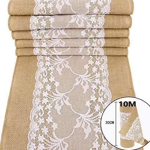 TtS 30cm*10M Juteband Spitzenband Overlock-Näh Natürliche Sackleinen weiße Spitze Band Rolle Tischläufer Jutestoff Tischdecke Hochzeits