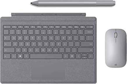 New Microsoft Surface Pro 6 Accessories Bundle, Include Official Type Cover (Mechanical Moving Key, LED Backlite), Surface Mouse and Pen (Platinum)