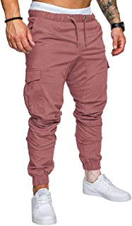HebeTop➟Men's Clothing Men's Athletic Workout Sweatpants Casual Trousers with Cargo Pockets