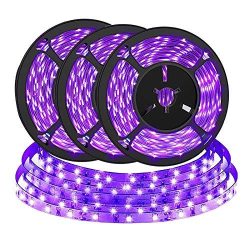 6M UV Schwarzlicht LED Streifen Stromversorgung über USB, BRTLX Selbstklebend SMD 2835 Lichtleiste UV Lampe für Weihnachten Halloween Club Party, Bar, Neonfarben, Club, Disco, Deko, 3er X 2M