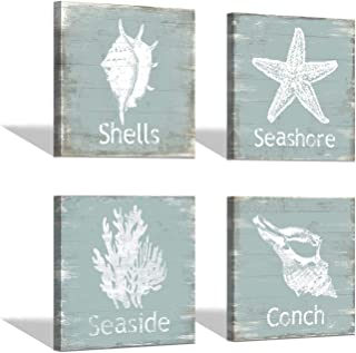 Coastal Beach Picture Starfish Artwork: Conch & Seashells Painting Canvas Wall Art for Living Room (12'' x 12'' x 4 Panels)