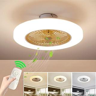 Ventilador de techo con lámpara, LED luz del ventilador, 3 Velocidades, 3 colores regulables, con Control remoto inteligente, 40W Lámpara de techo para sala de estar del dormitorio (Amarillo)
