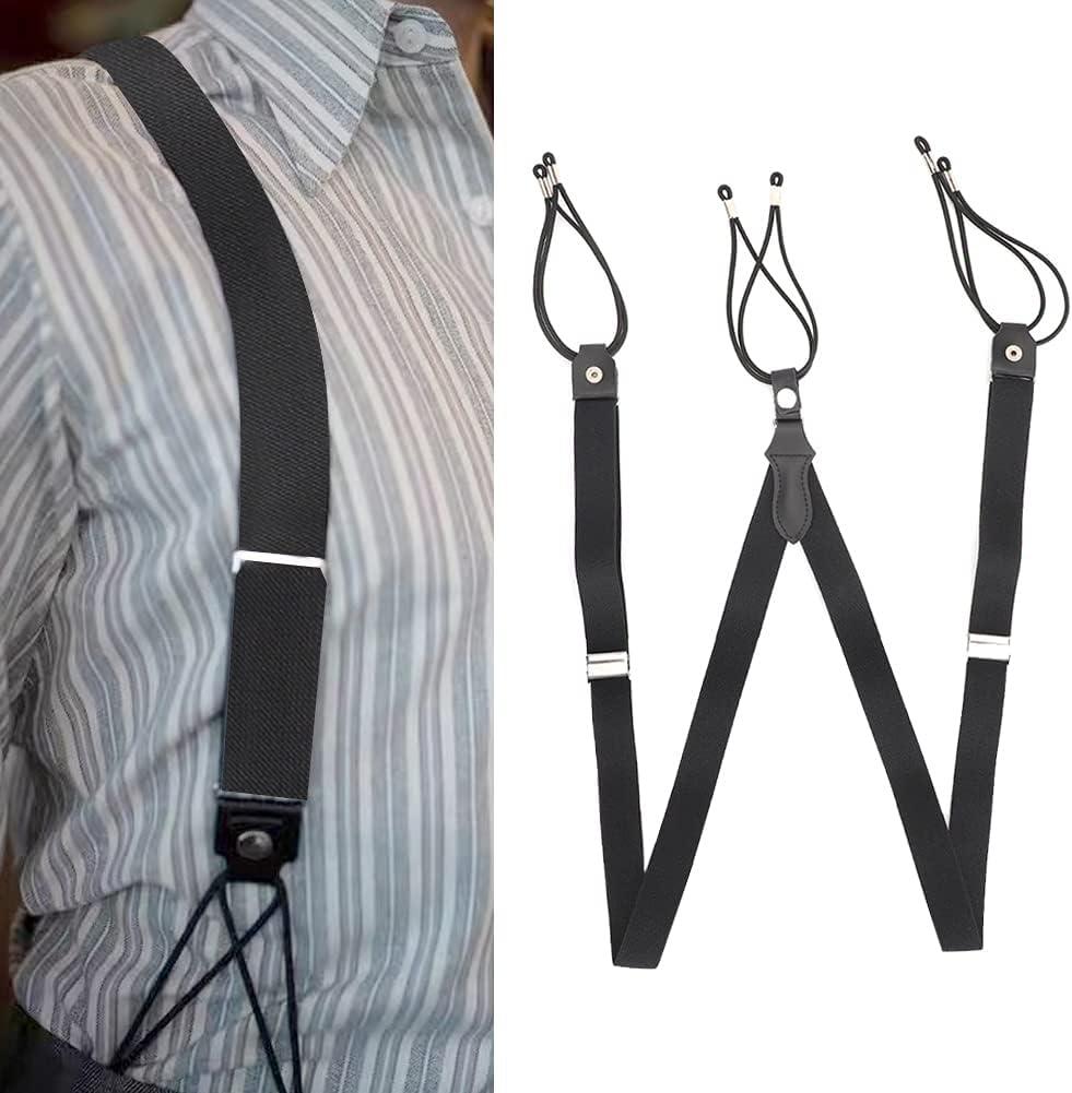 GLOGLOW Y Shaped Suspenders, High Elastic British Gentleman Style Retro Retractable Braces Black Adjustable Men Braces Strap Elastic Bands for Casual Formal