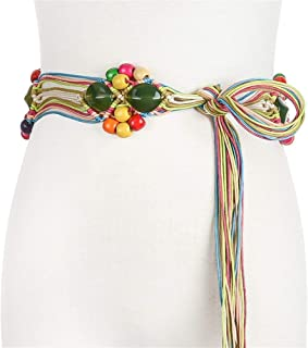 SGJFZD New Fashionable Handmade Wax Rope Woven Wooden Buckle Wooden Beads Belt National Wind Waist Chain Belt (Color : Green, Size : 100-135CM)