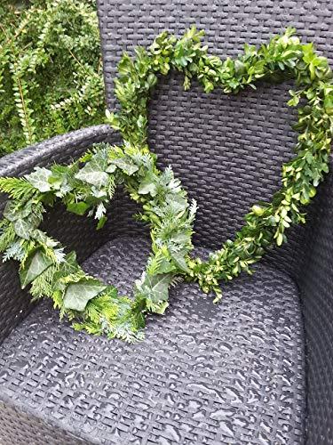 Buchsbaum/Efeu Mix Herz in 2 Größen zum selbst gestalten frisch von Hand gebunden