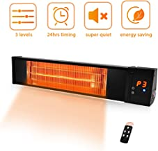 Electric Patio Heater- Adjustable 1500W Outdoor Heater w/Remote 24H Timer Overheat Protection, Full Infrared Heater 1s Instant Heat Quite Easy Install Wall Mount Space Heater In/Outdoor Backyard