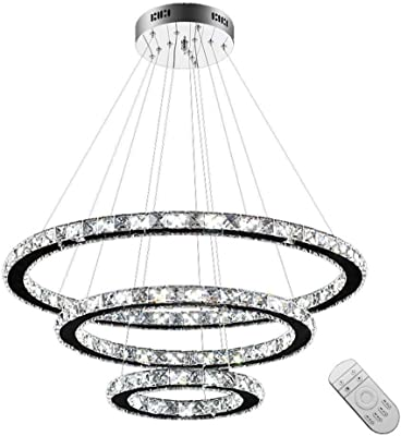 KJDFN Comprar LED Lámpara De H?Ngelampe Luz Colgante De Cristal 72W Kaltwei? Lámpara De Techo H?Tres Anillos Ngeleuchte (Kaltwei ?, 72W) Sencillo y Duradero (Color : DiTritone Light)